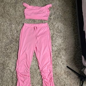 Sport Solid Women two piece set Tracksuits